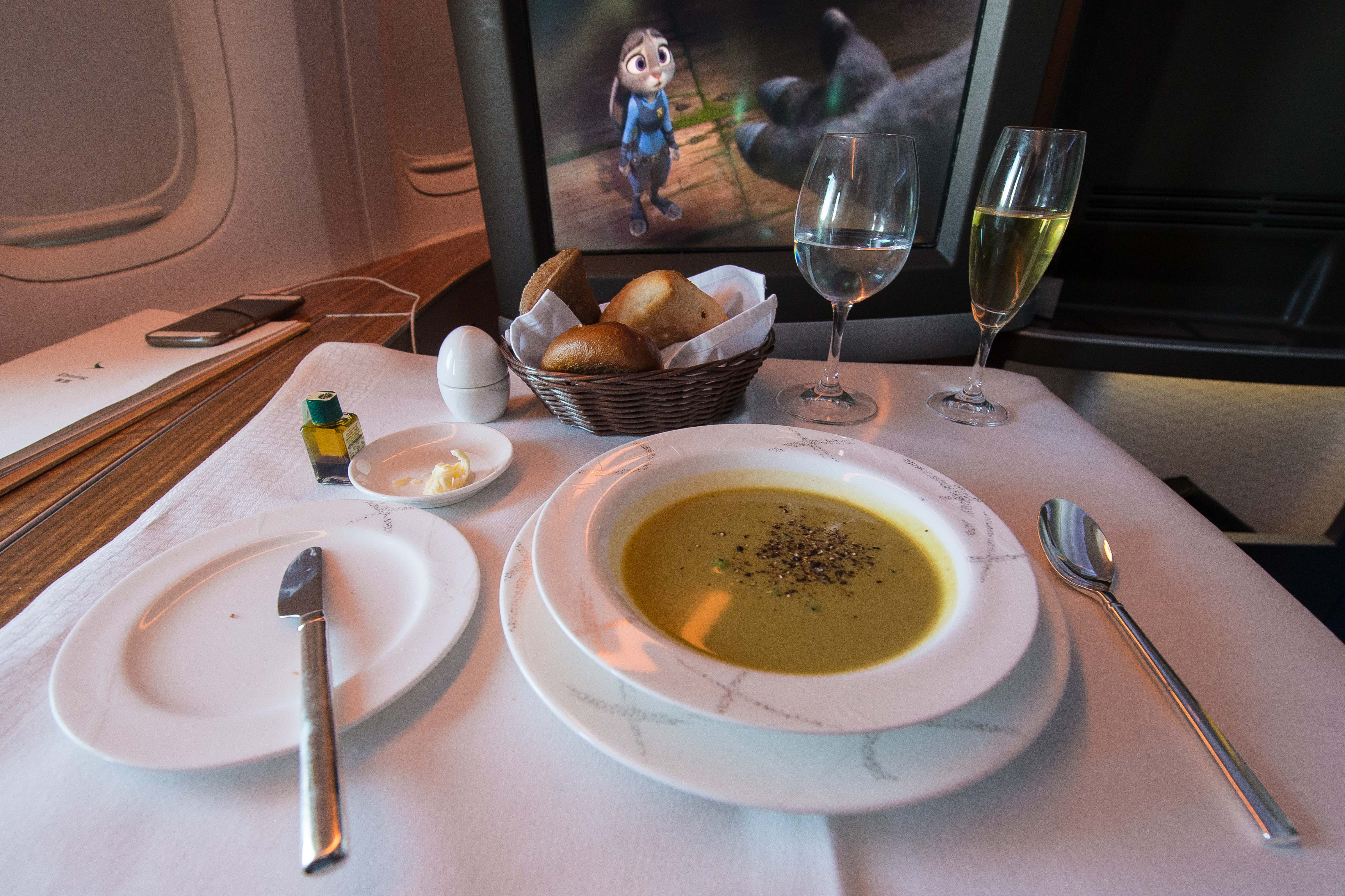 Cathay Pacific 77W First Class Soup
